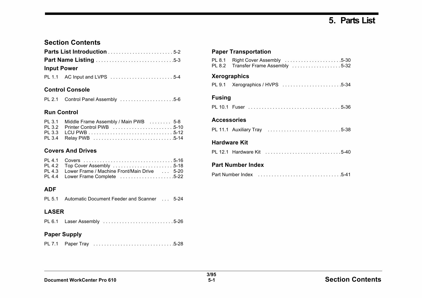 Xerox WorkCentre Pro-610 Parts List Manual-1